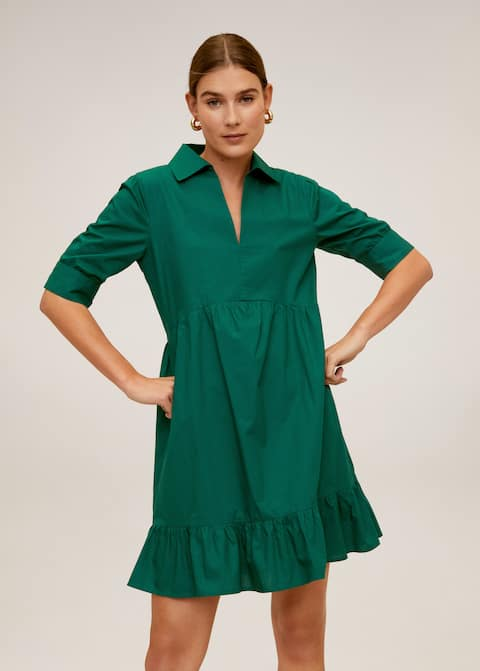 premium selection clearance prices sold worldwide Frill cotton dress - Woman | Mango Kosovo