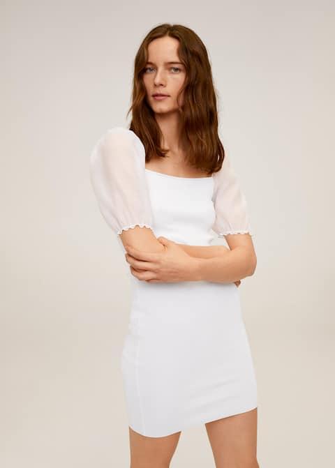 Vestido punto manga abullonada - Plano medio