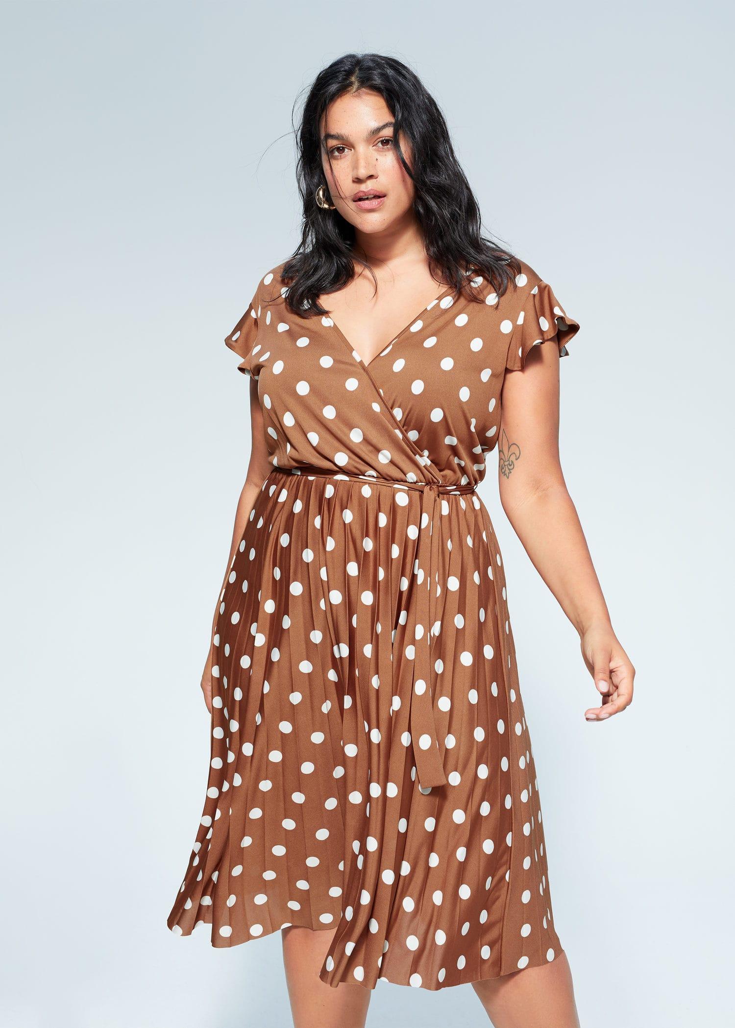 Polka Dot Pleated Dress Plus Sizes Violeta By Mango Usa