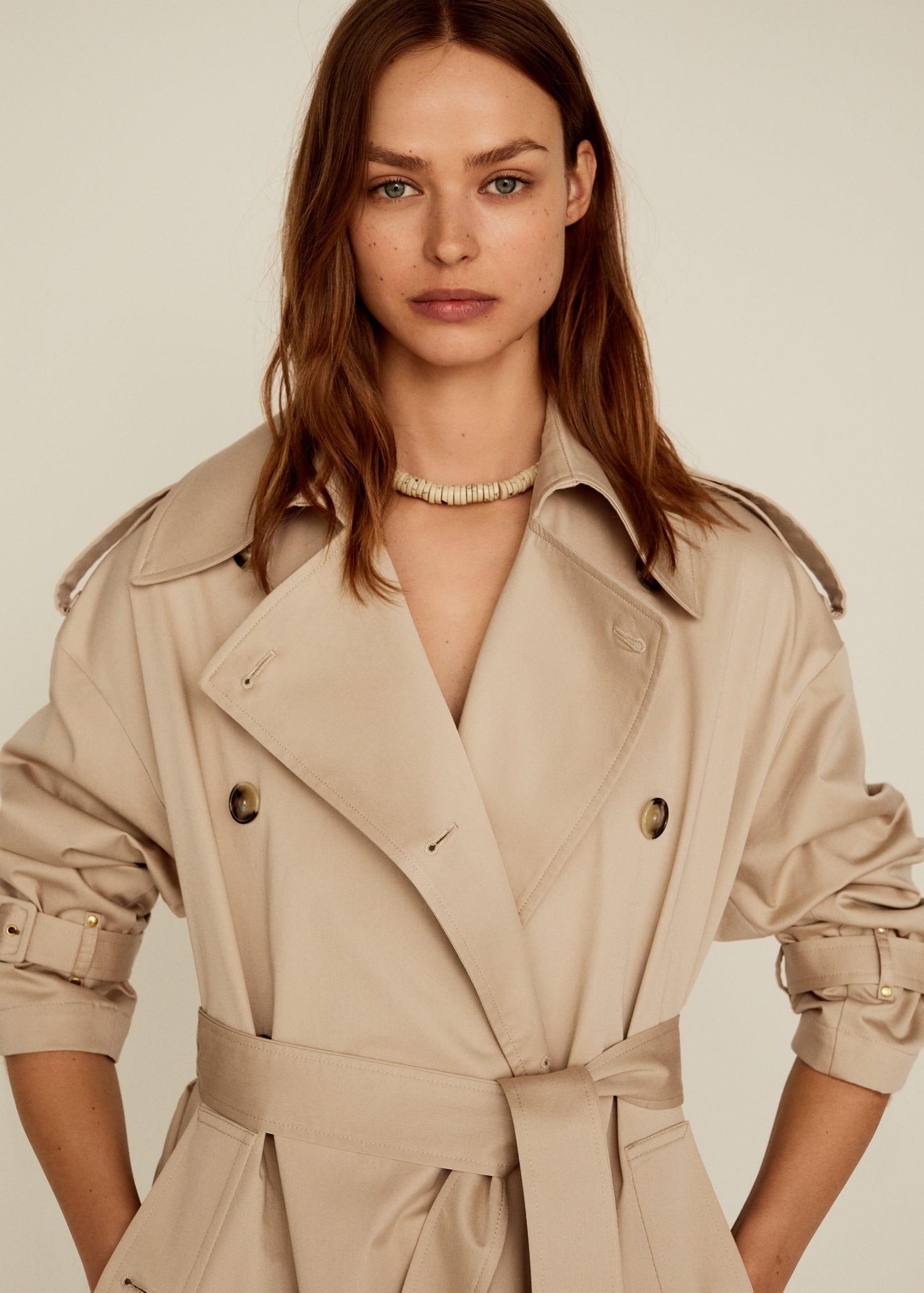 Women Single-Breasted Trench Coat Full Length Overcoat Belt Sand Collar Outwear