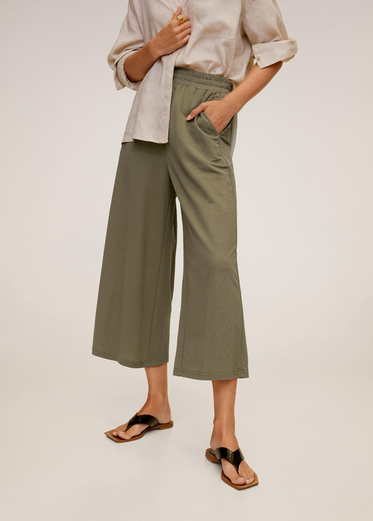 Mango Pantalones Ancho Verde