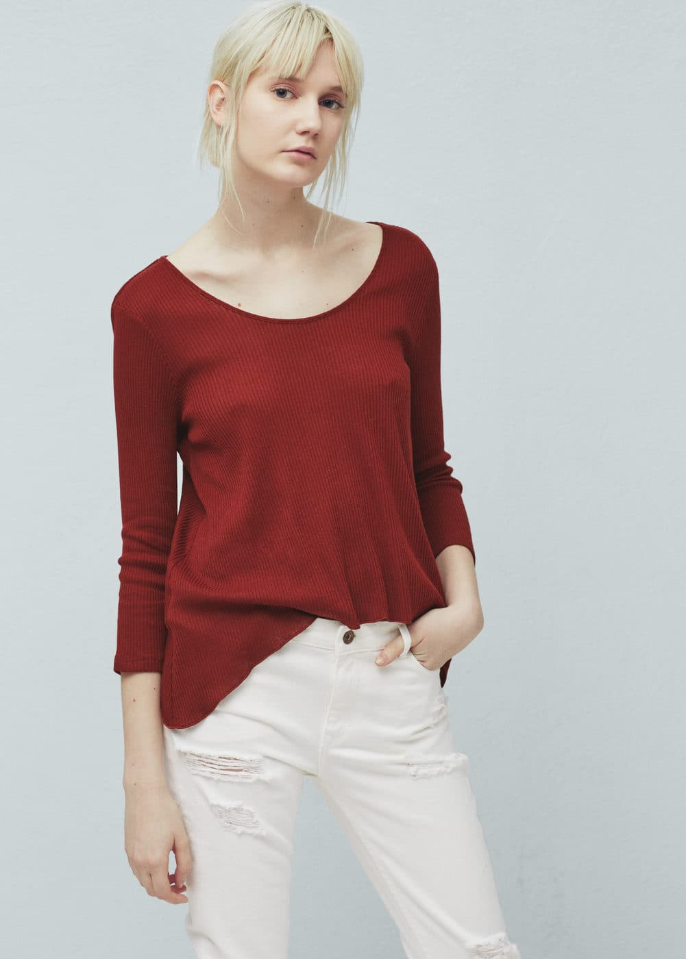 Ribbed cotton t-shirt | MANGO