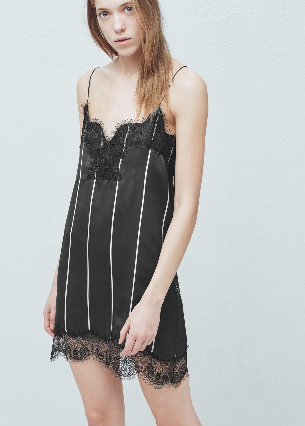 Lace trim dress | MANGO
