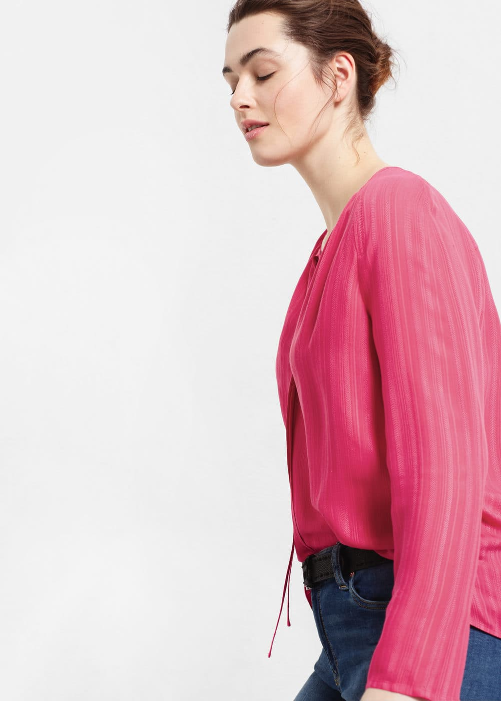 Textured stripe-patterned blouse | MANGO