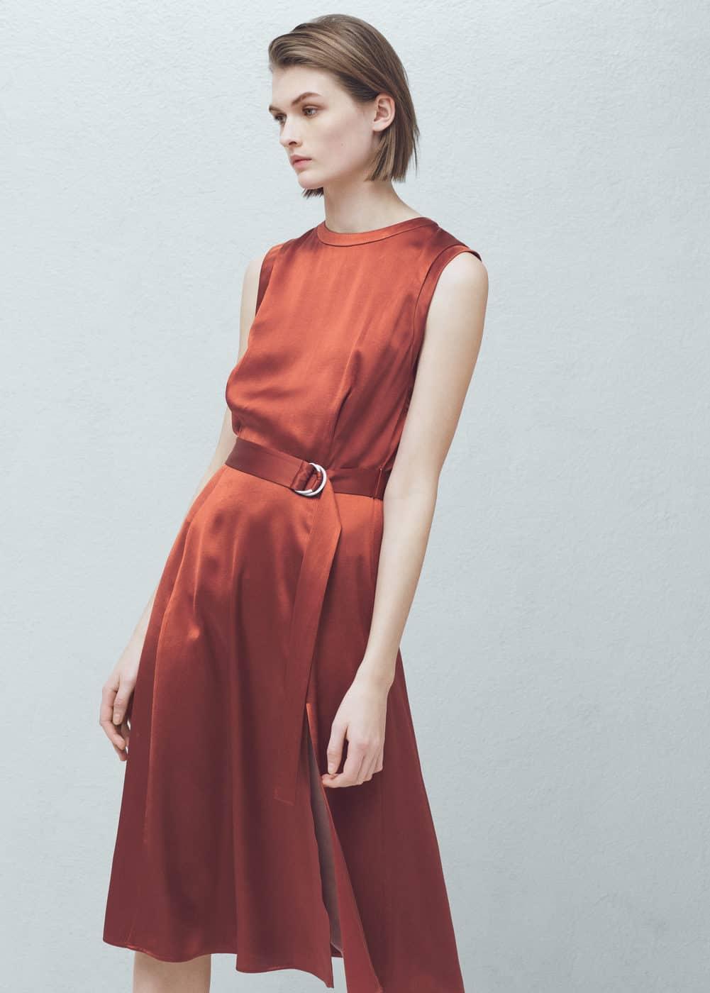 belt satin dress mango usa