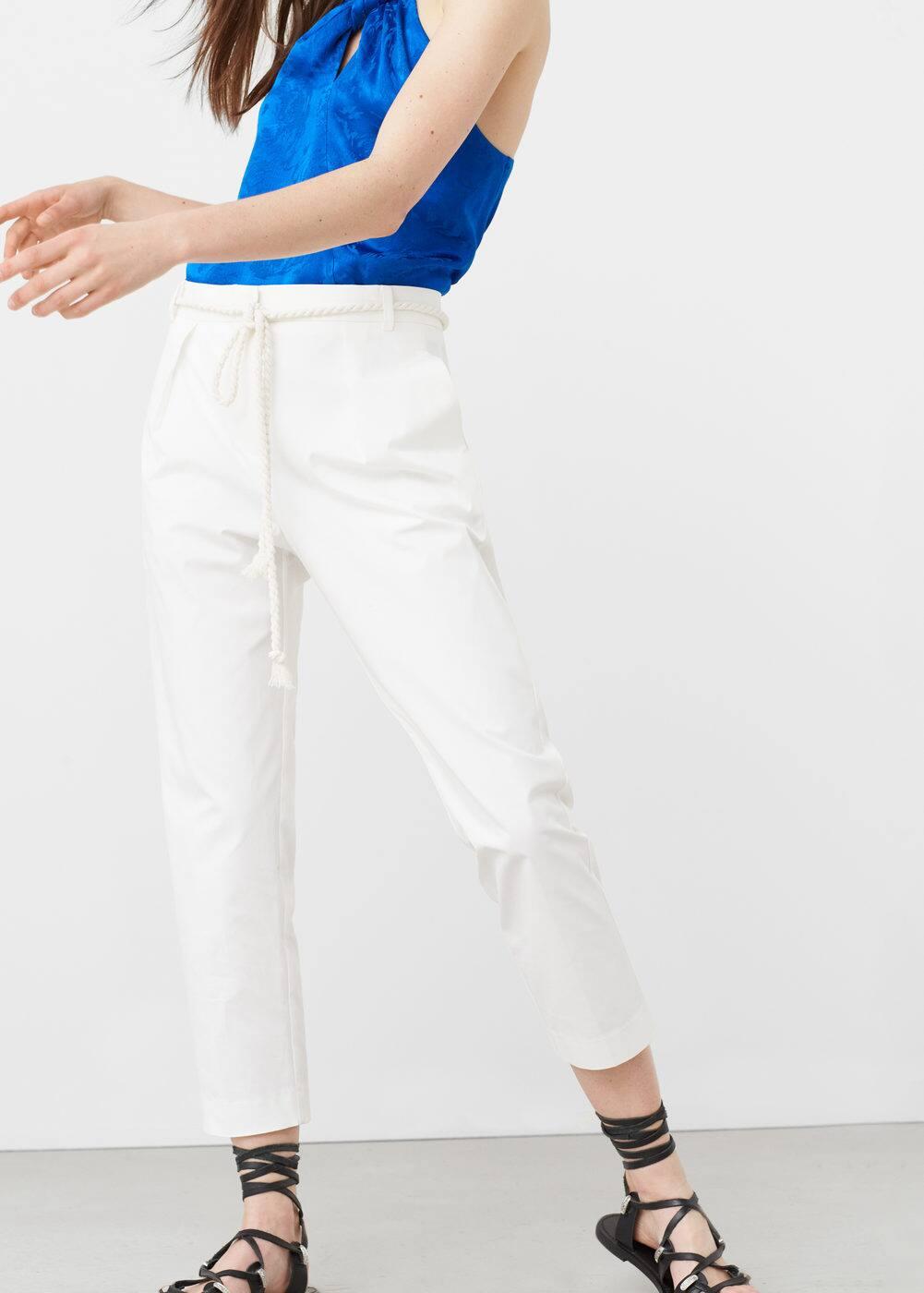 Spodnie bawełniana popelina | MANGO