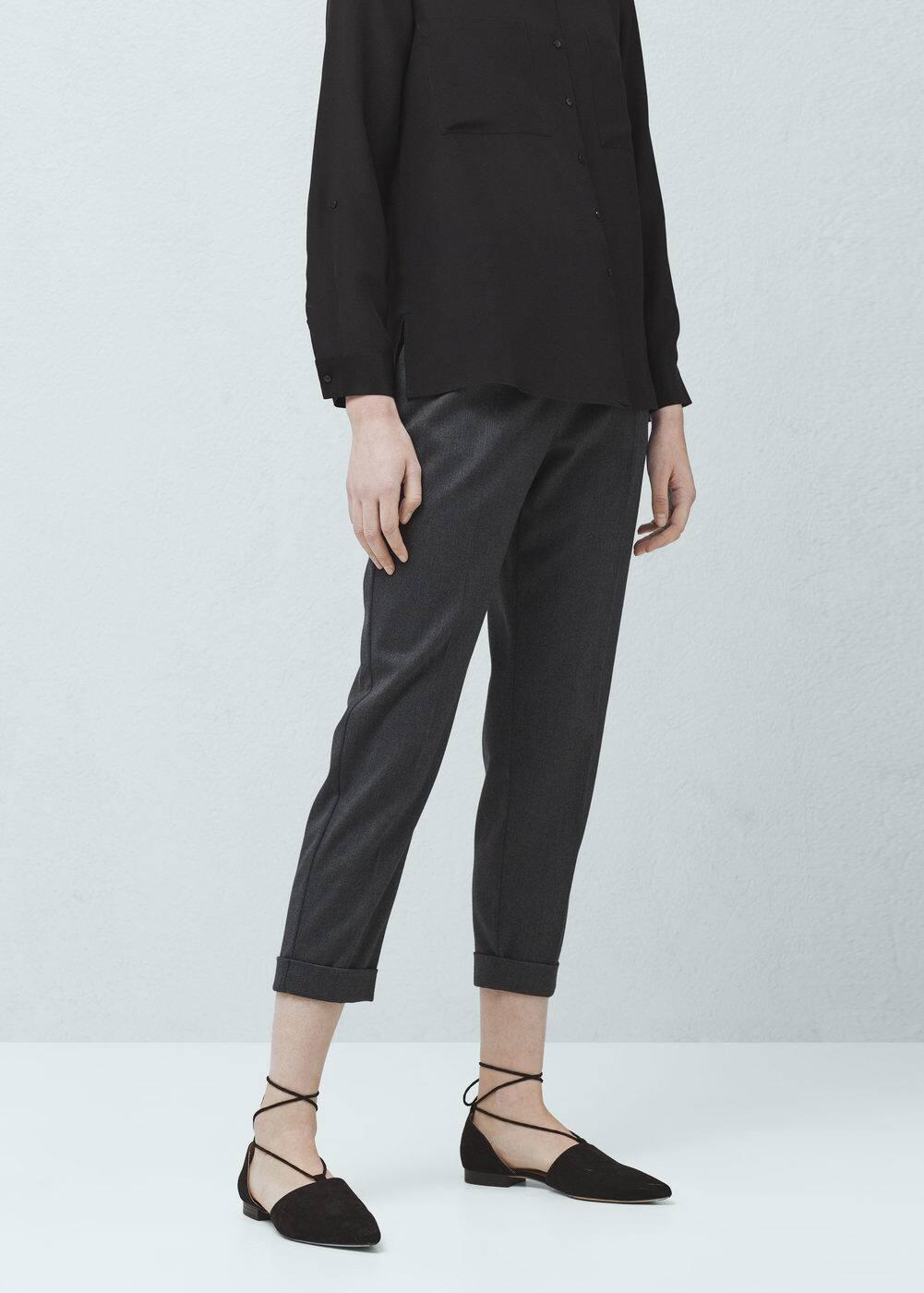 Pantalón diseño espiga - Mujer | MANGO España