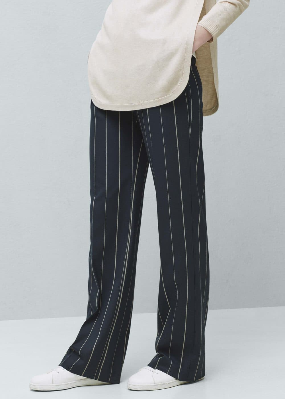 Straight striped trousers | MANGO