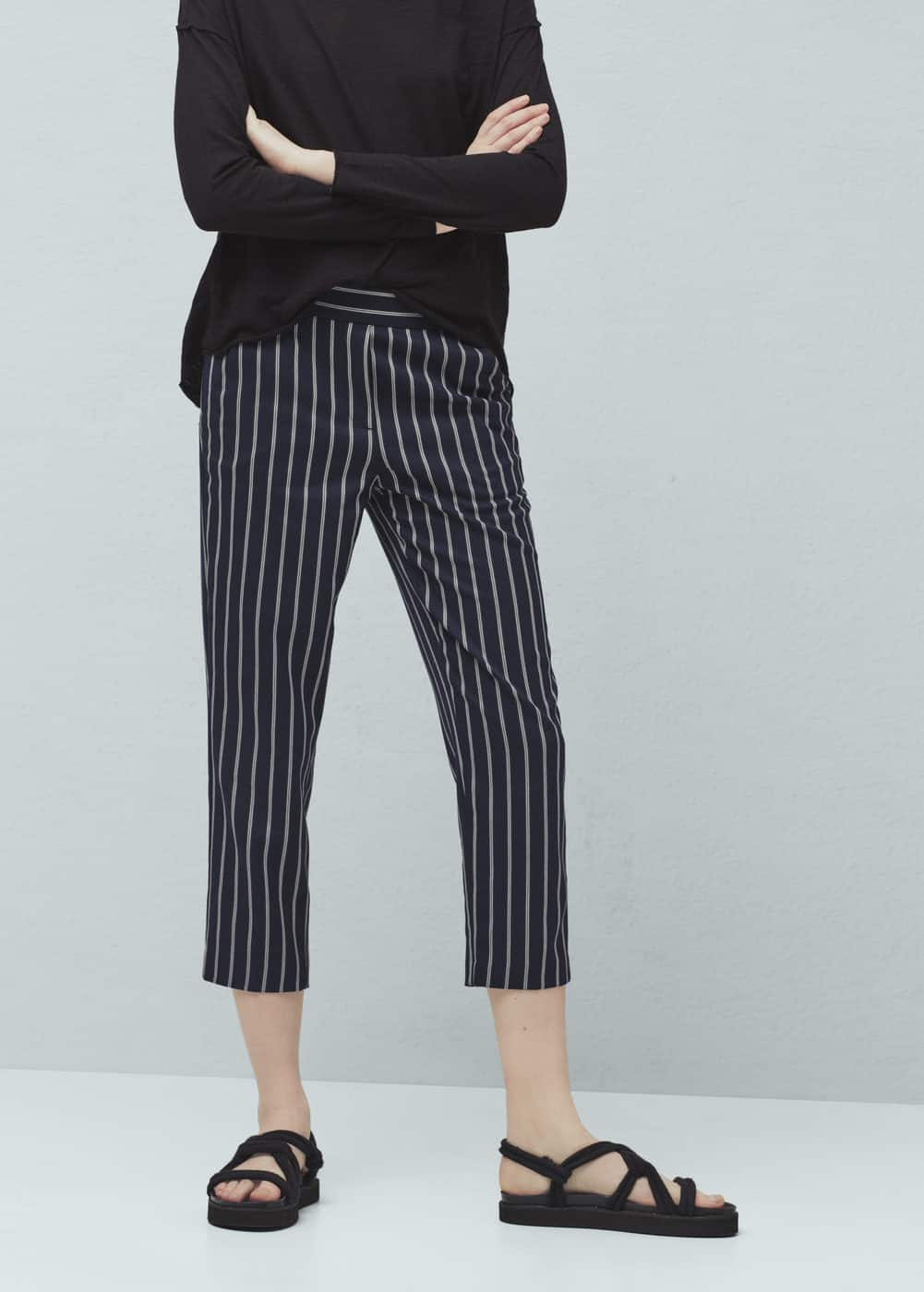 Striped crop trousers | MANGO