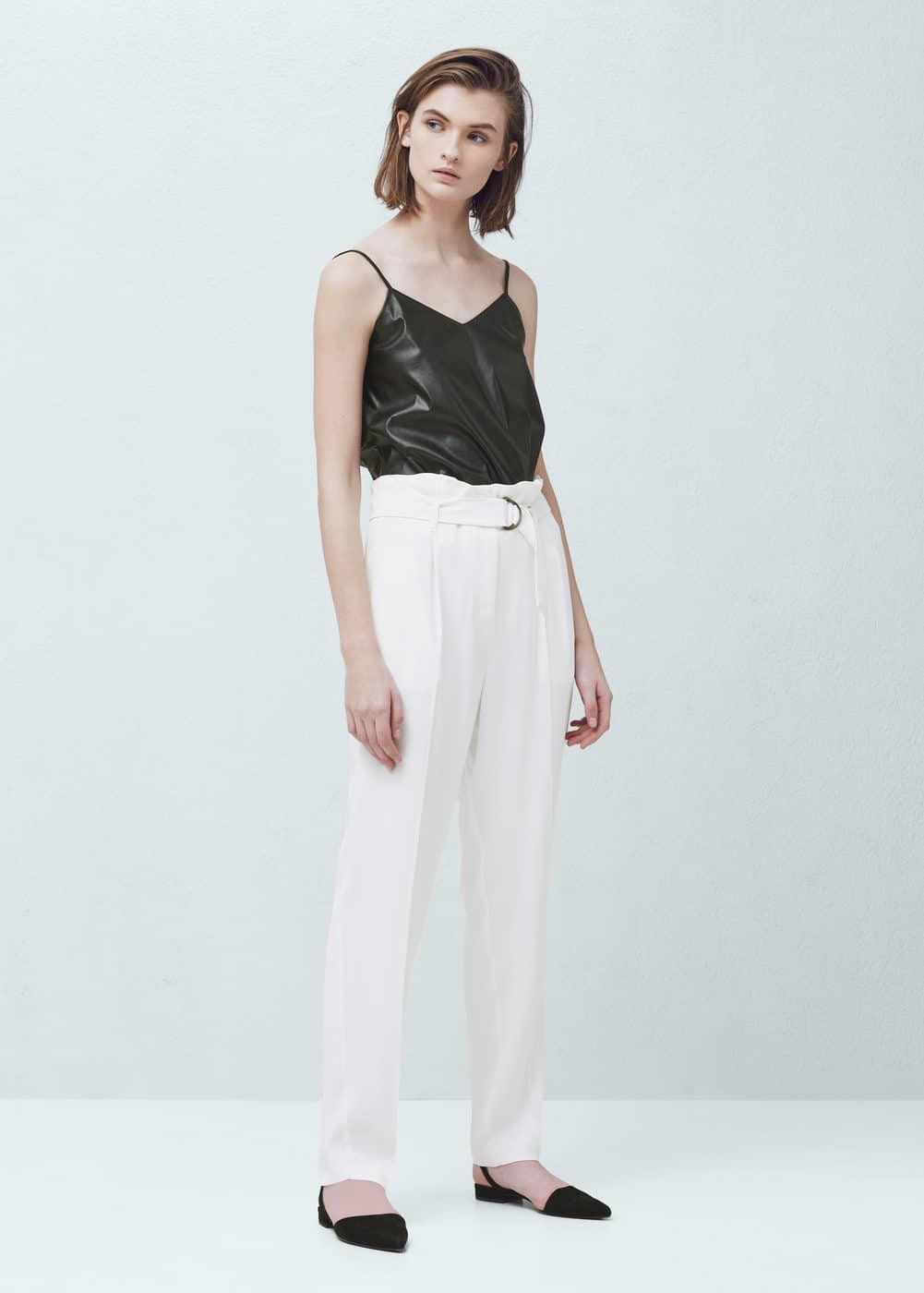 Tab-detail high-waist trousers | MANGO