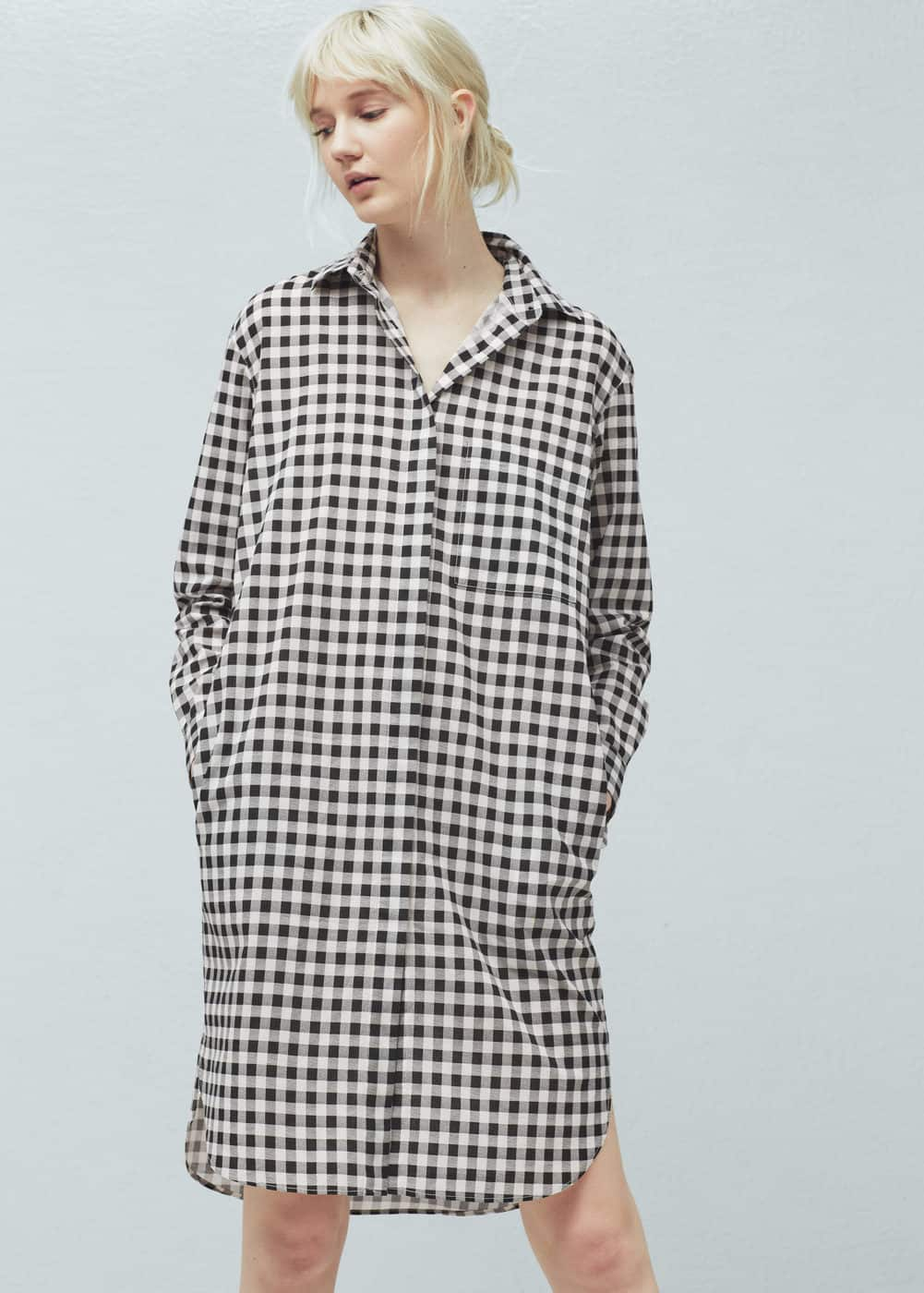 Two-tone cotton dress | MANGO