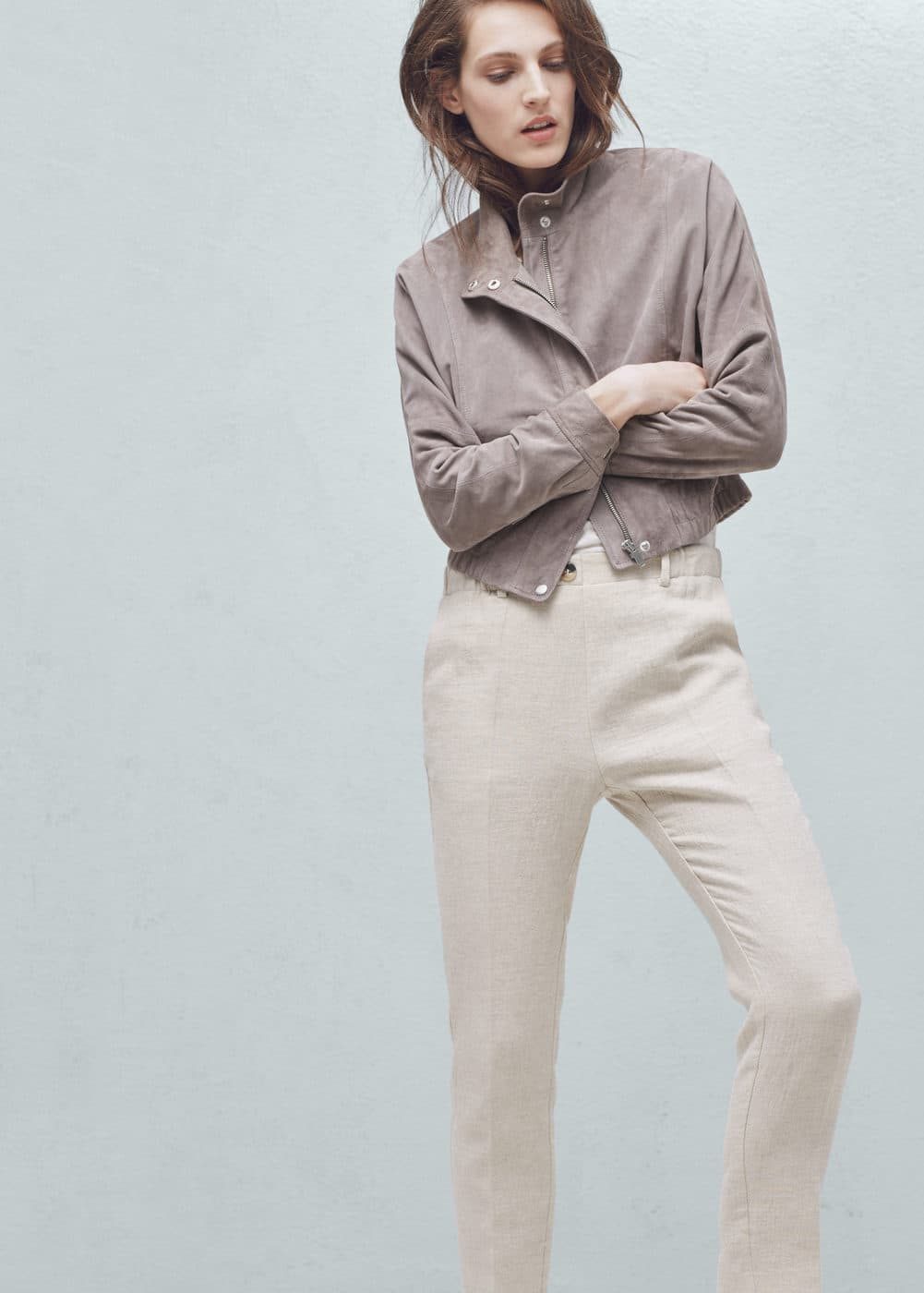 Straight linen-blend trousers | MANGO
