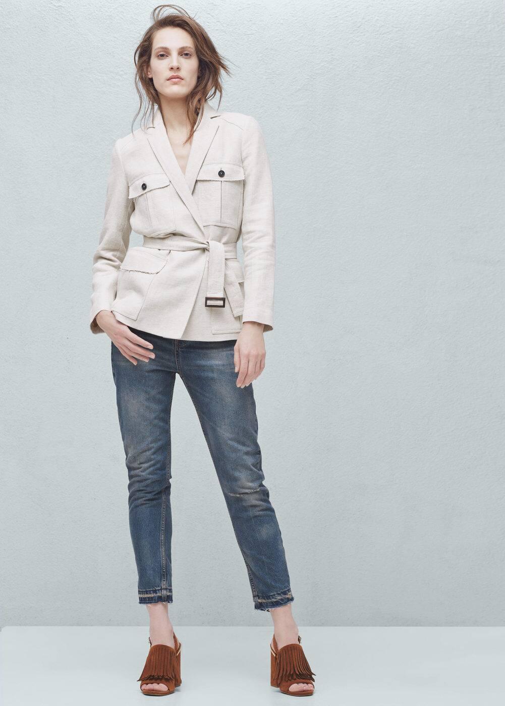 Pocket linen-blend jacket | MANGO