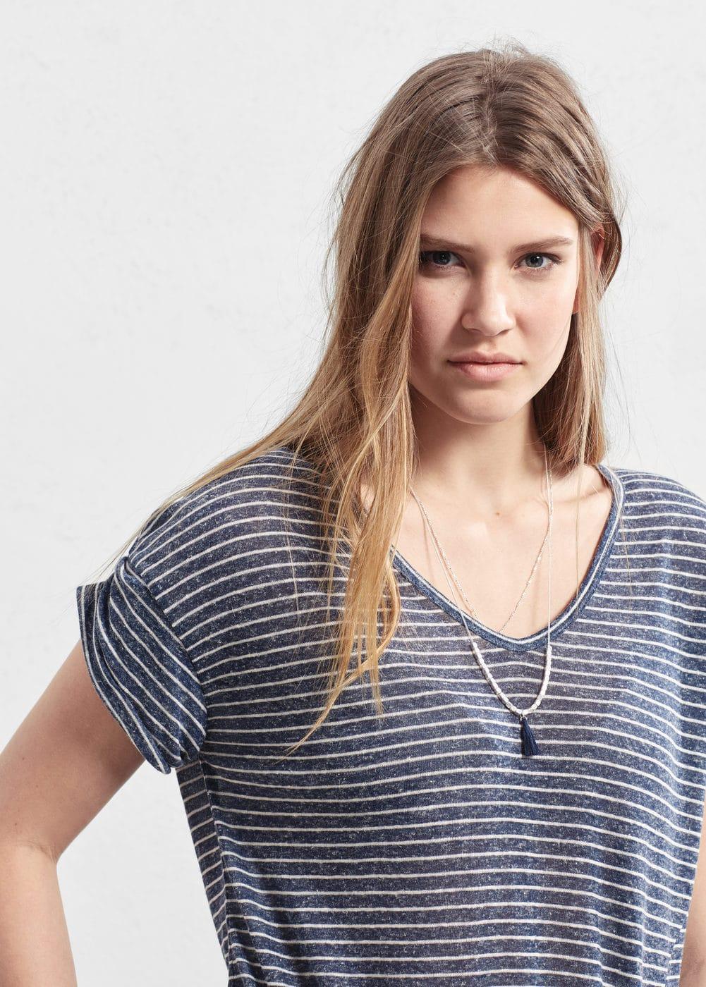 Striped linen-blend t-shirt | VIOLETA BY MANGO