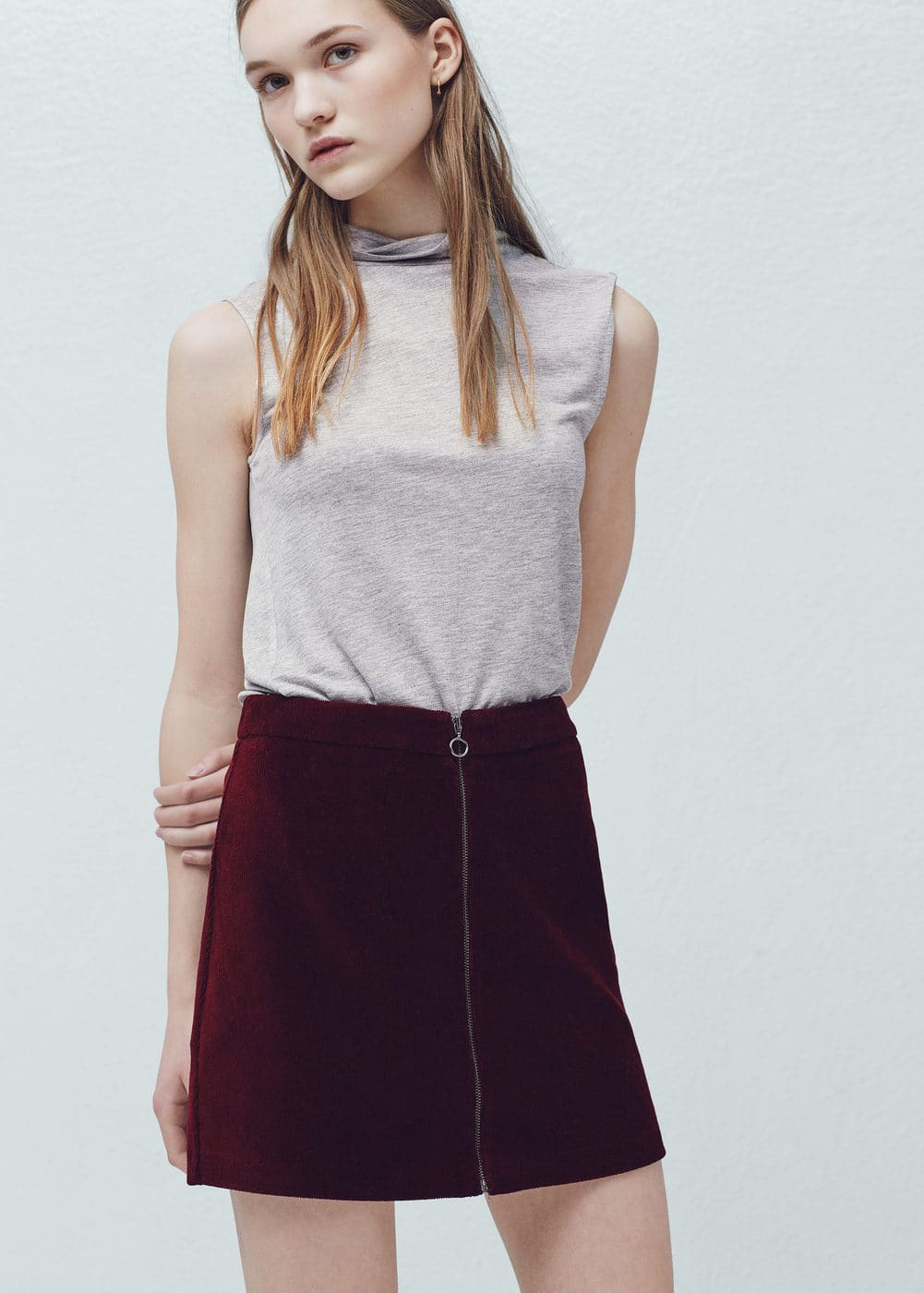 Zipped cotton skirt | MANGO