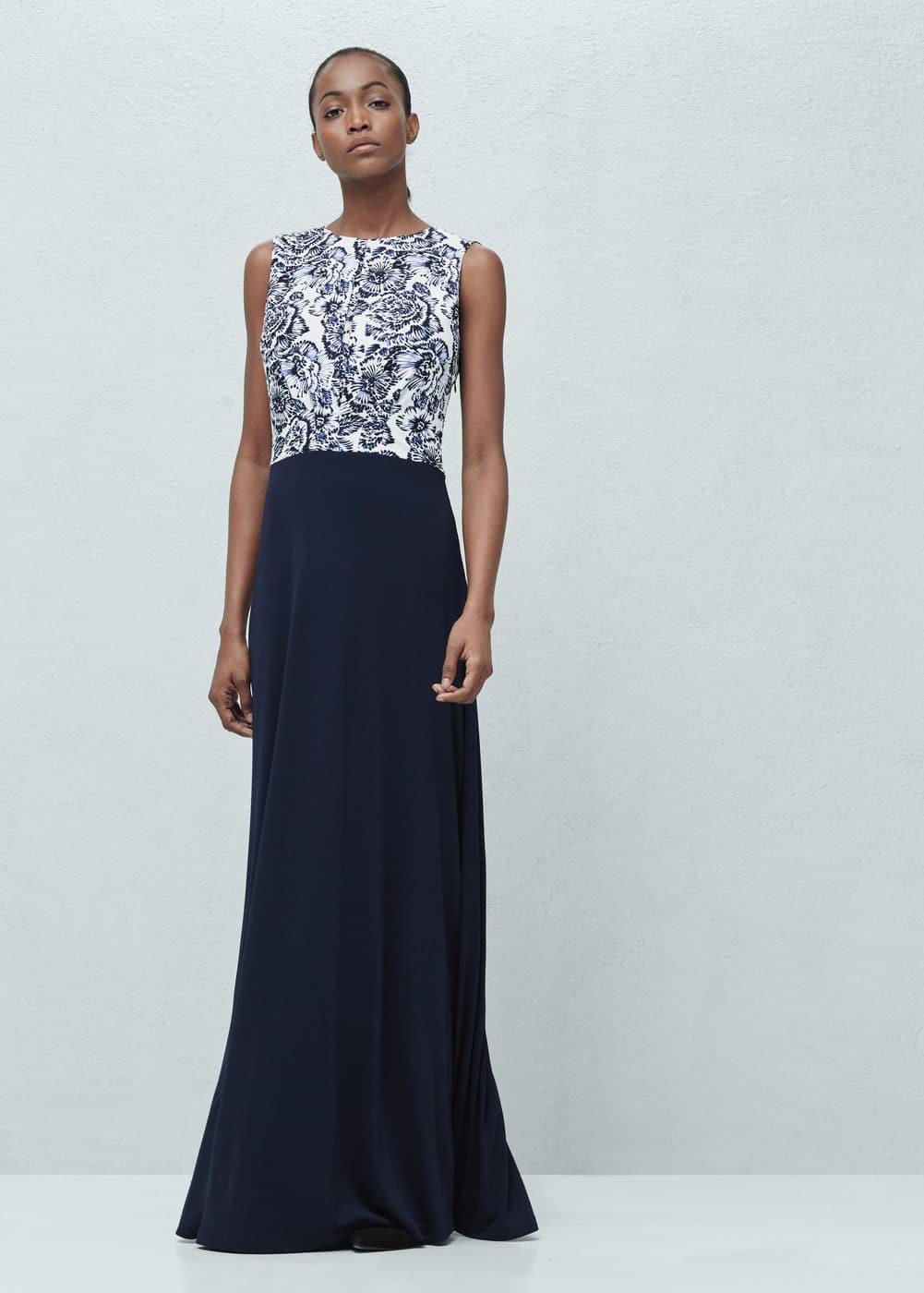Vestido largo combinado mujer mango espaa vestido largo combinado mango ombrellifo Gallery