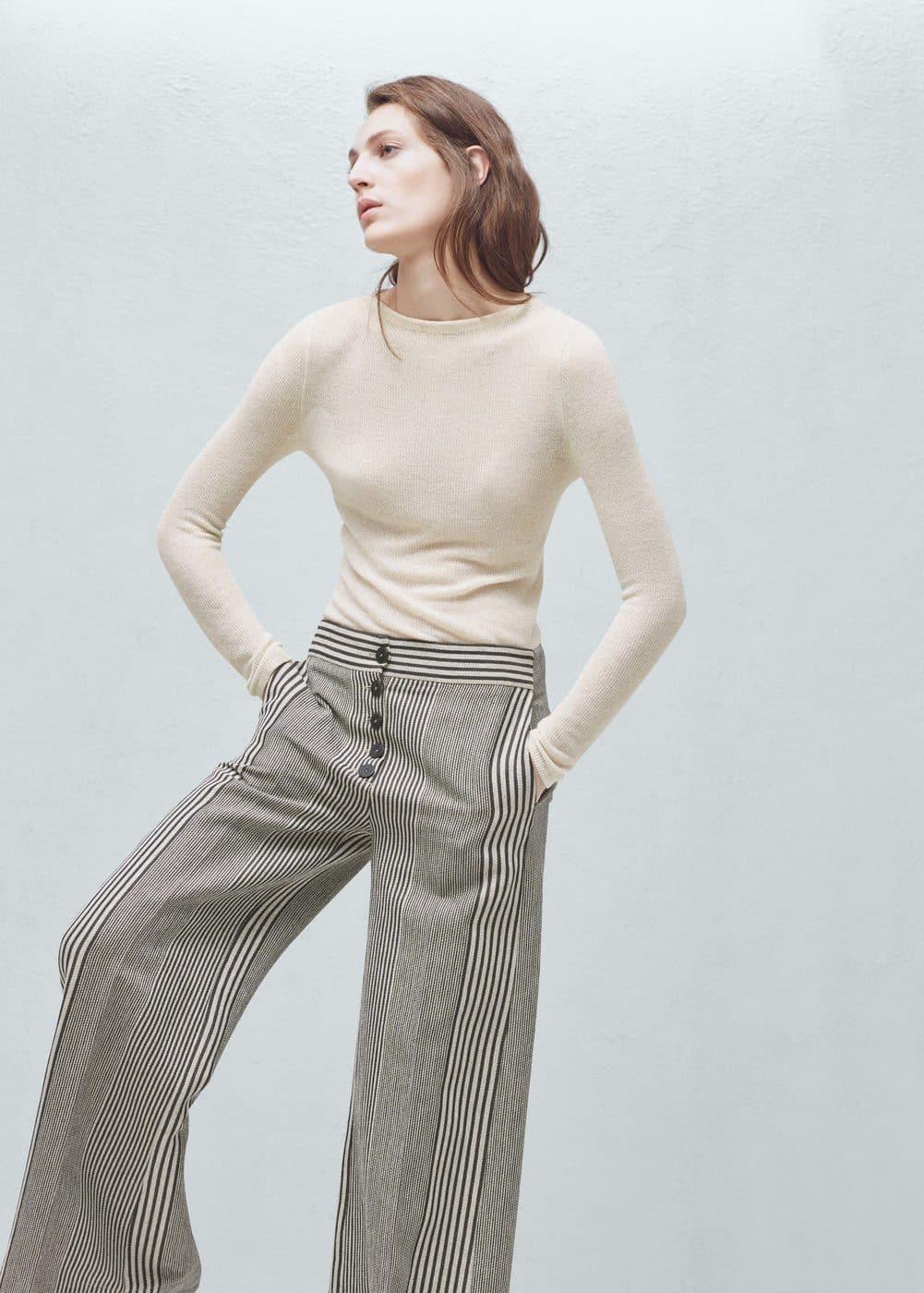 Premium - linen-blend palazzo trousers | MANGO