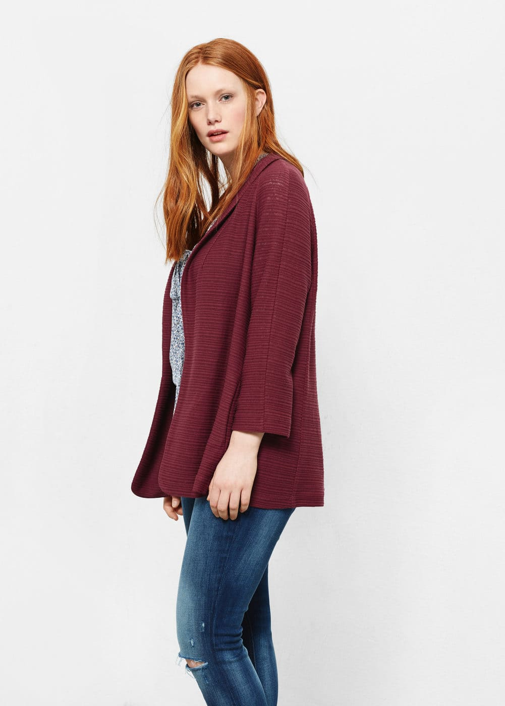 Textured cotton-blend jacket | VIOLETA BY MANGO