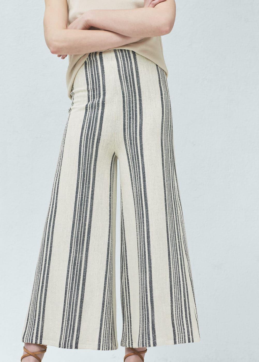 Pantalon palazzo crop | MANGO