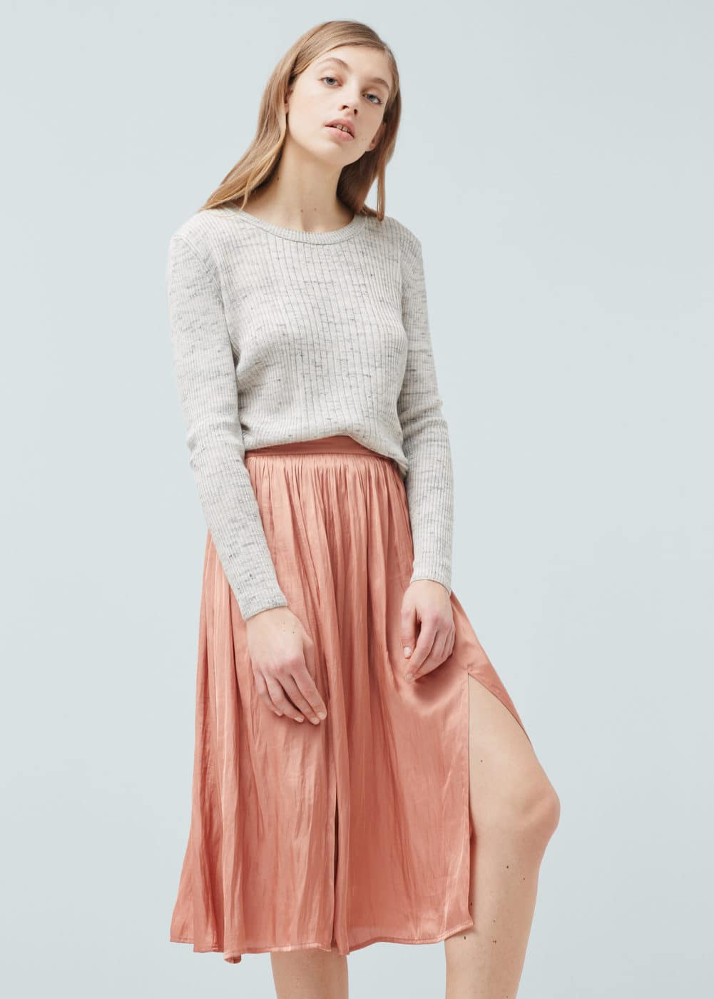 Midi satin skirt | MANGO