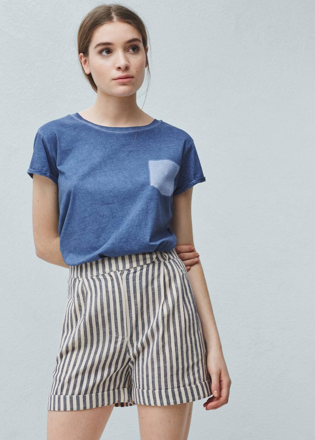 Striped cotton bermuda shorts | MANGO