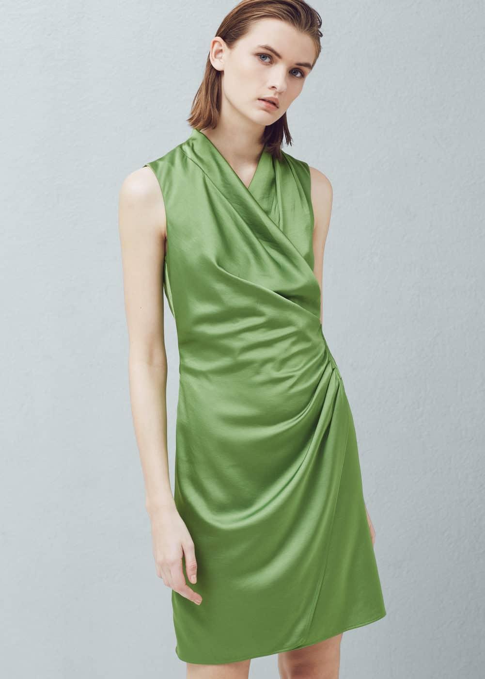 Wrapped satin dress   MANGO