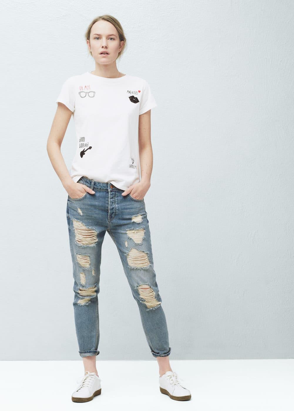 Bead printed t-shirt | MANGO