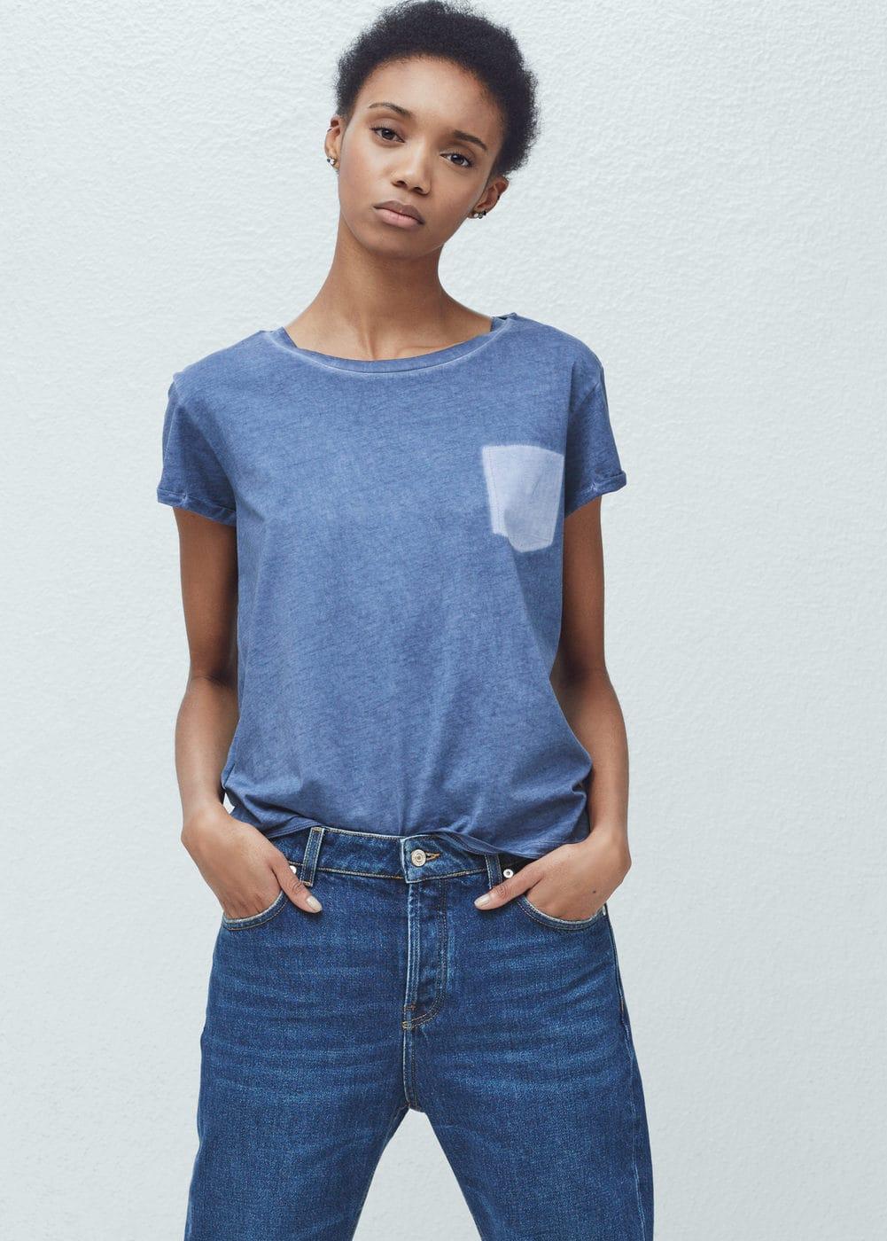 Pocket cotton t-shirt   MANGO