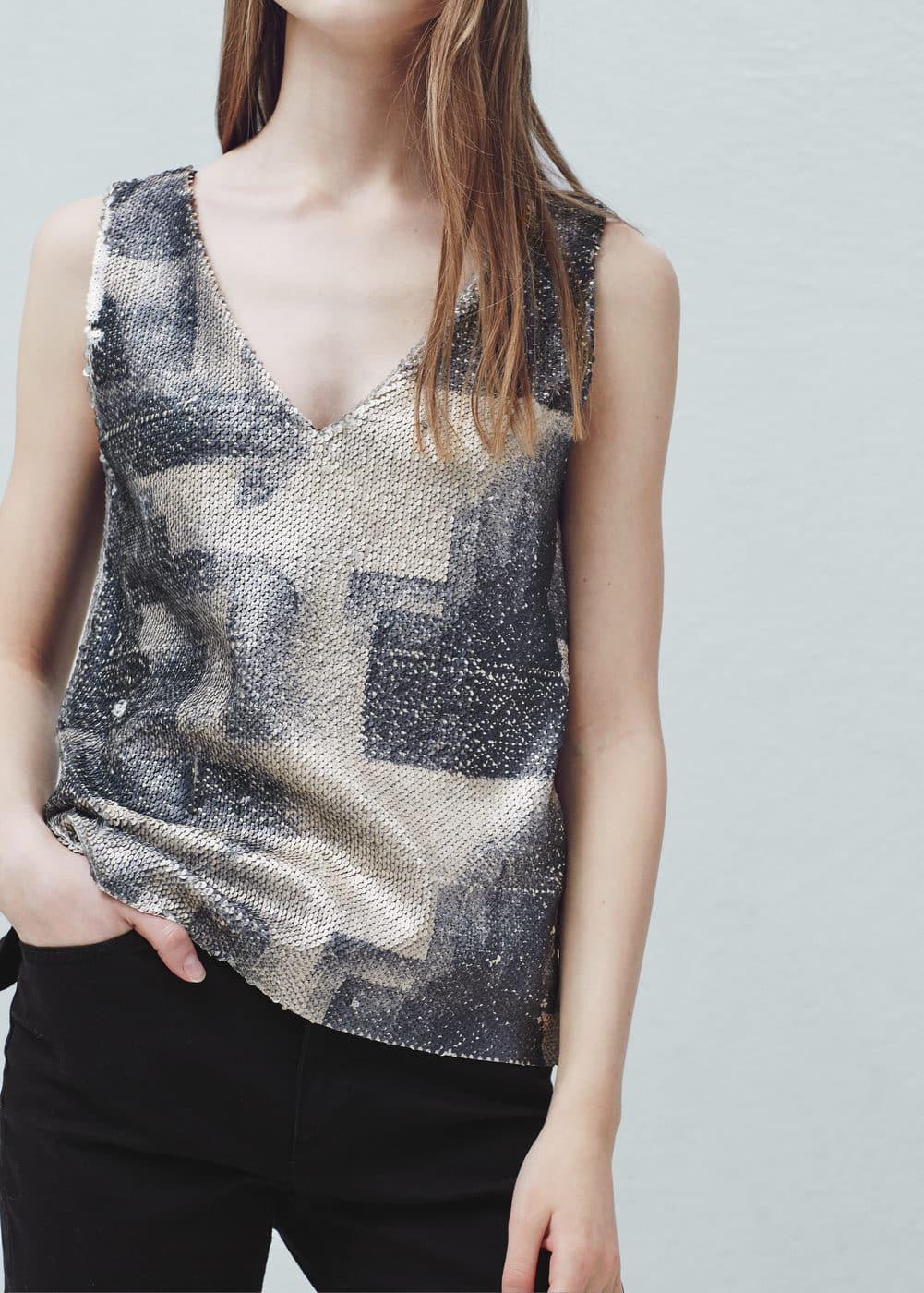 reversible sequins t shirt women mango usa. Black Bedroom Furniture Sets. Home Design Ideas