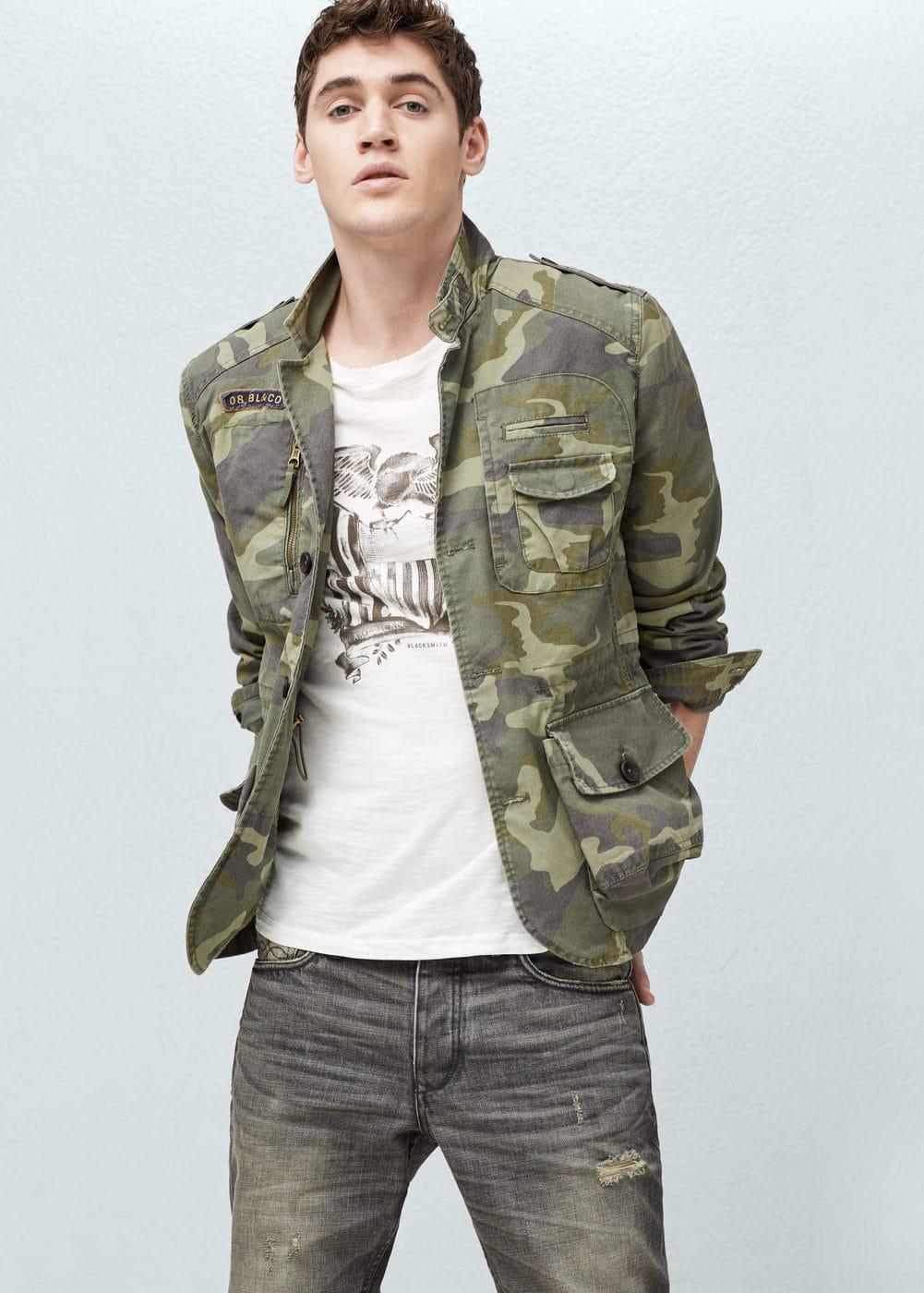 Camo-print jacket | MANGO MAN