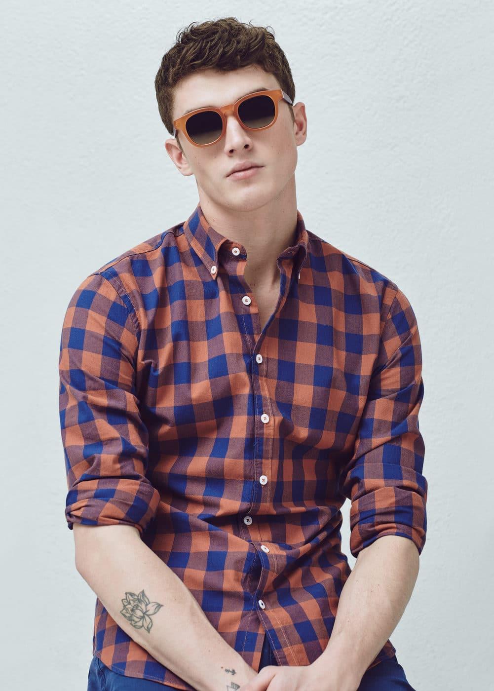 Bawełniana koszula slim-fit w kratę | MANGO MAN