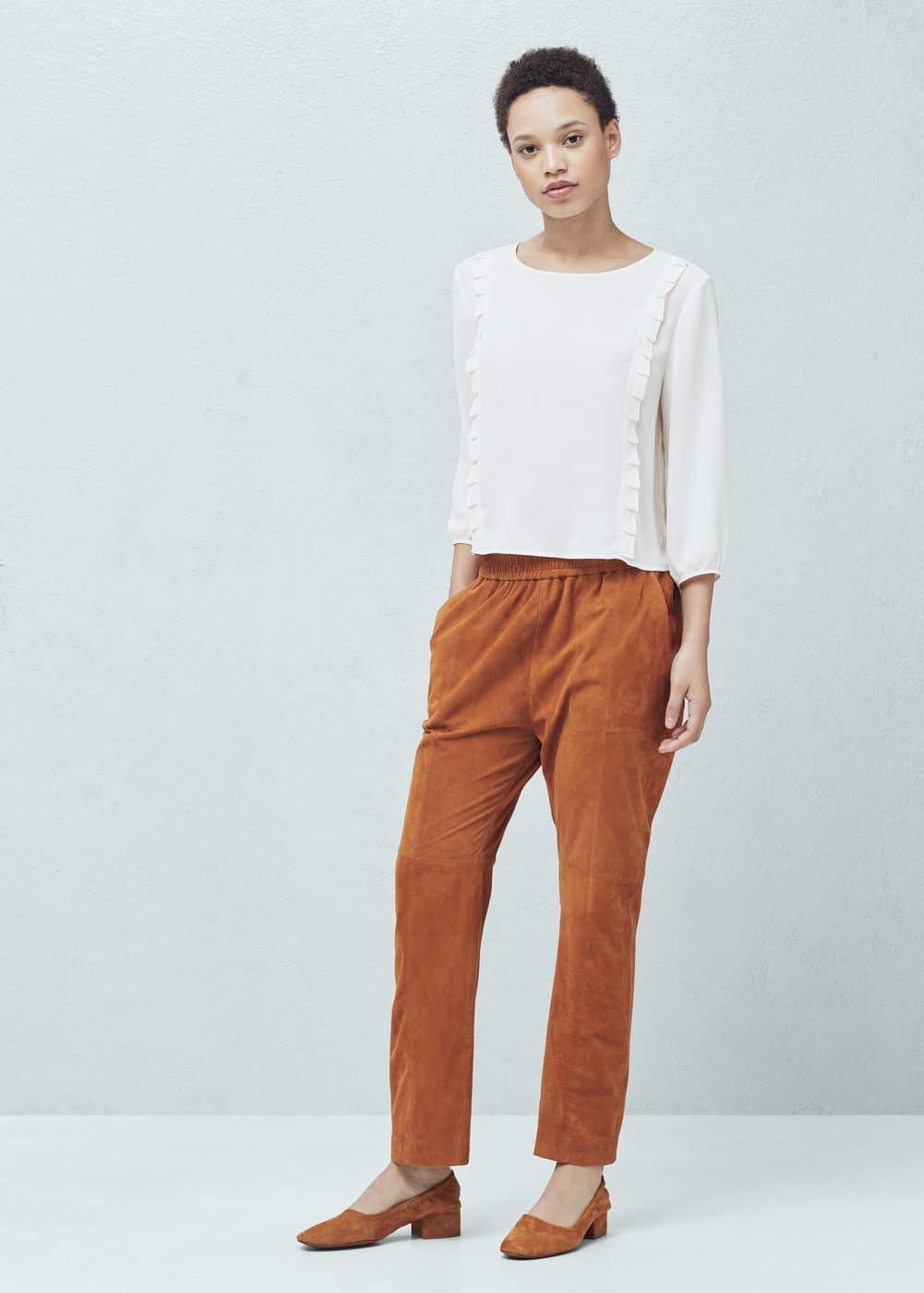 Pleated trim blouse | MANGO