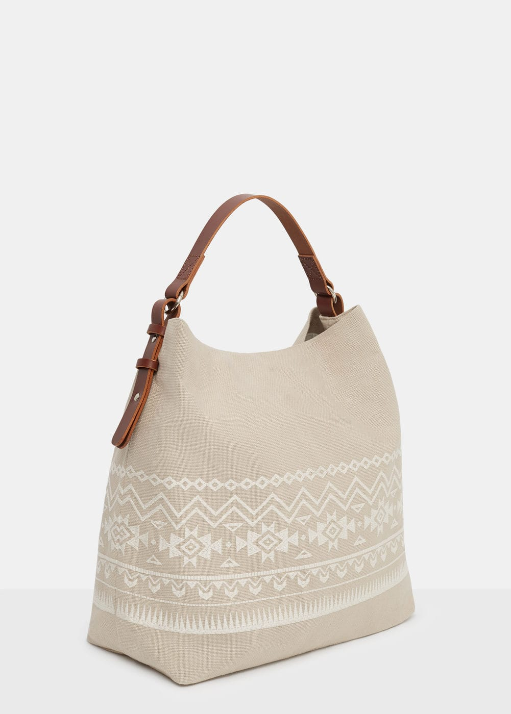 Embroidered shopper bag   VIOLETA BY MANGO
