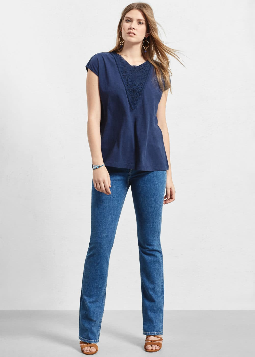 Embroidered cotton t-shirt | VIOLETA BY MANGO