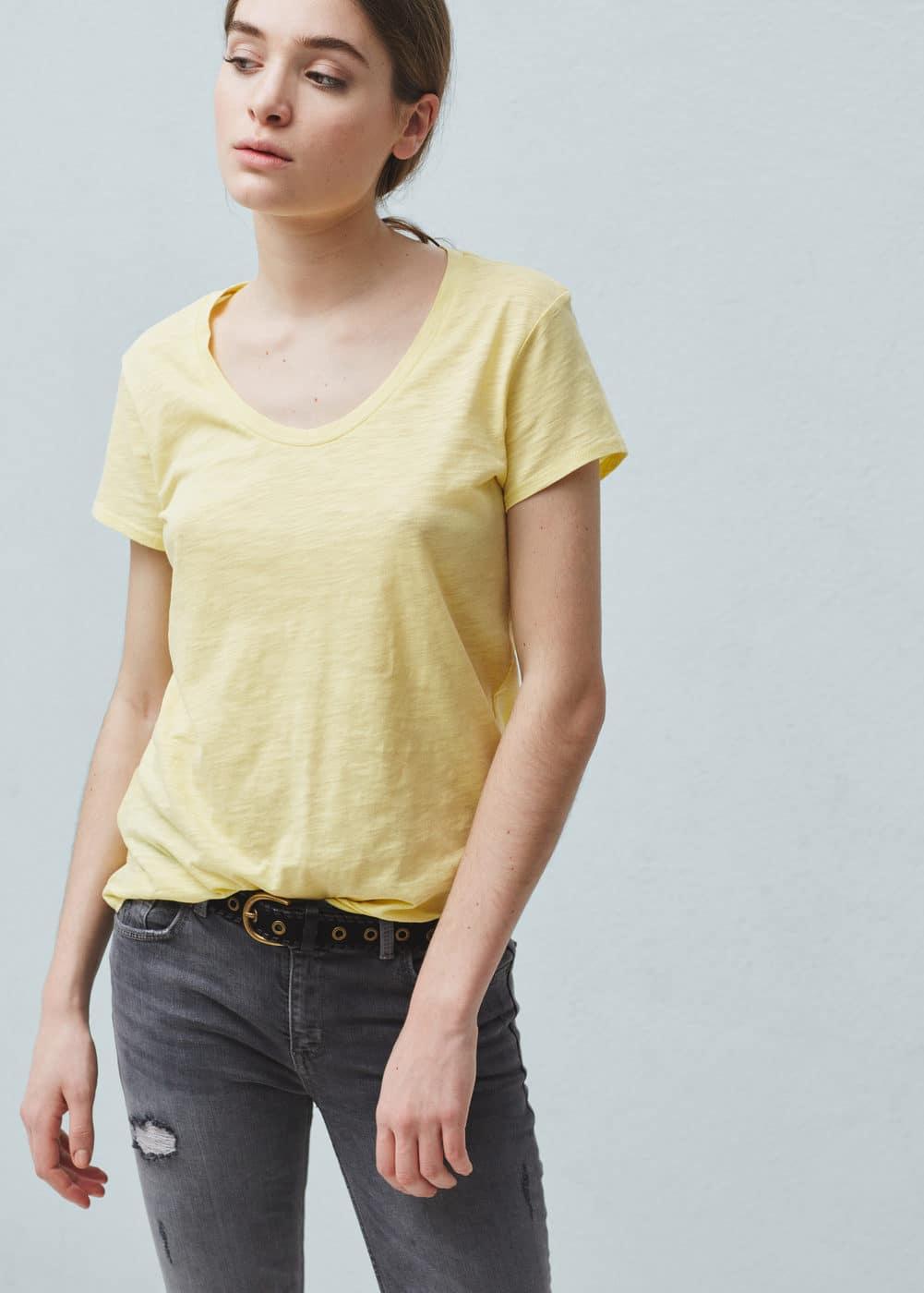 Flecked cotton-blend t-shirt   MANGO