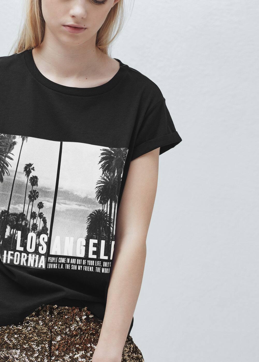 Image cotton t-shirt | MANGO