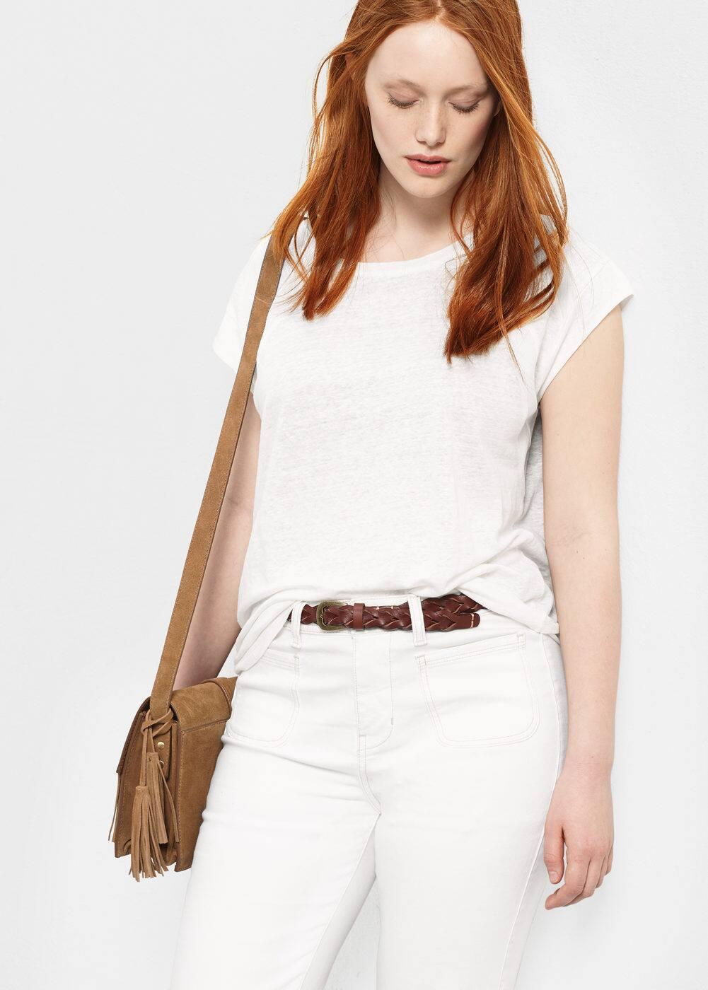 Linen t-shirt   MANGO