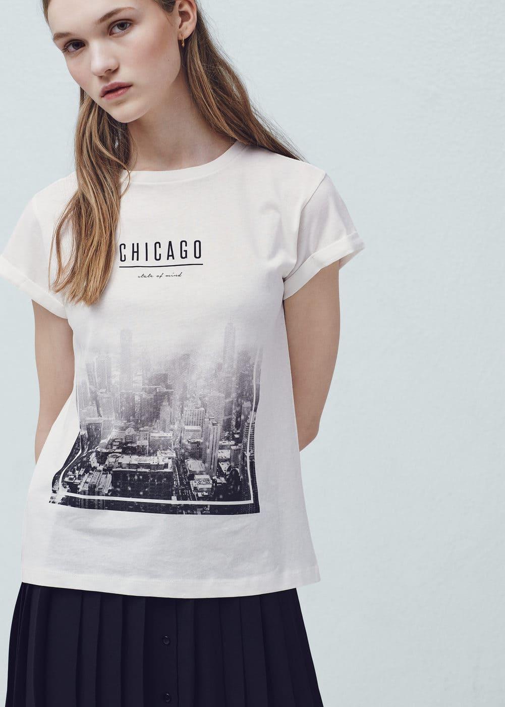 Printed cotton-blend t-shirt | MANGO
