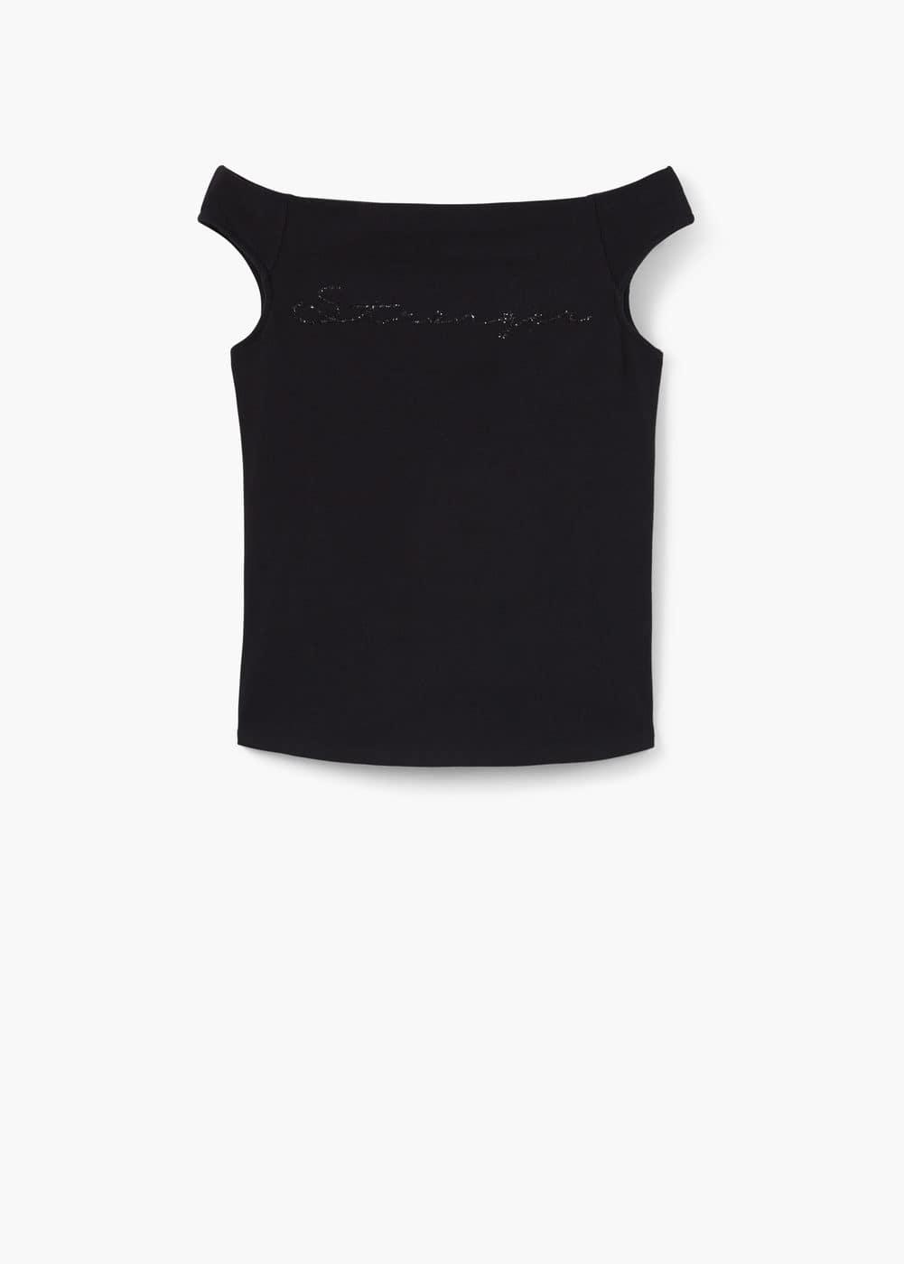 Camiseta estampado purpurina   MANGO