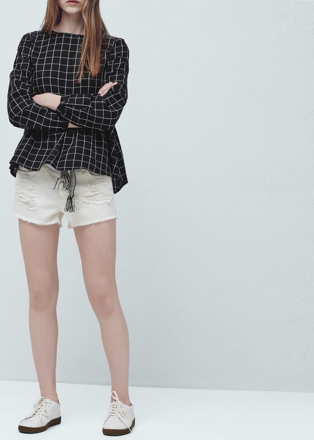 White denim shorts | MANGO