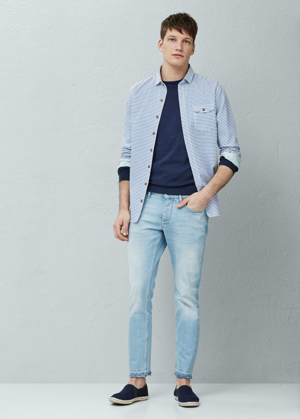 Slim-fit cotton seersucker shirt | MANGO
