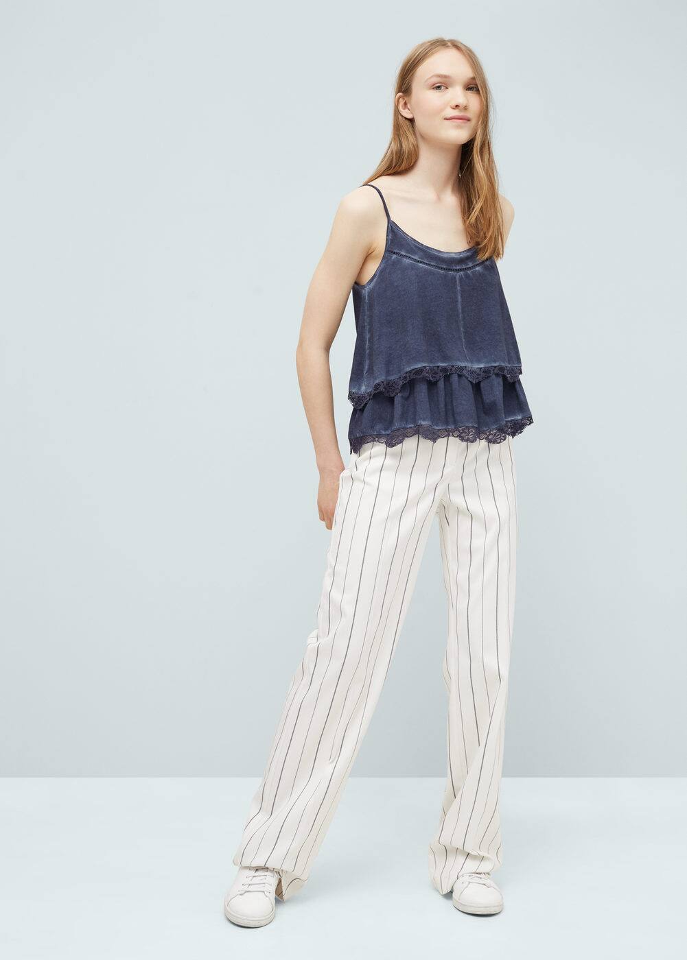 Layered cotton-blend top | MANGO