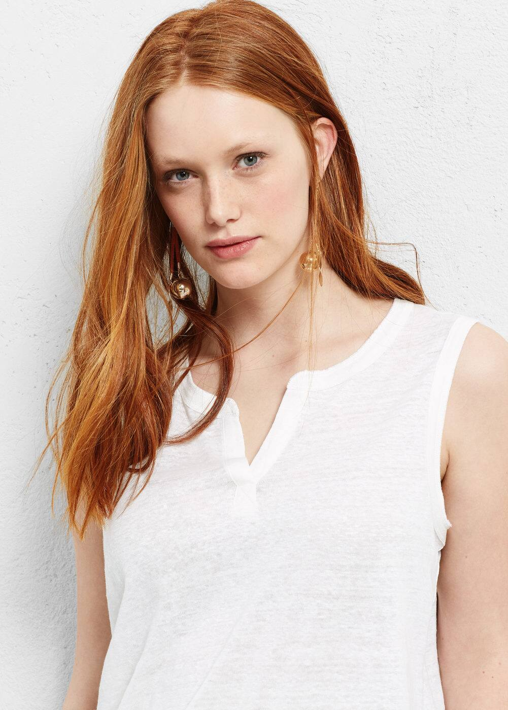 Linen t-shirt | VIOLETA BY MANGO