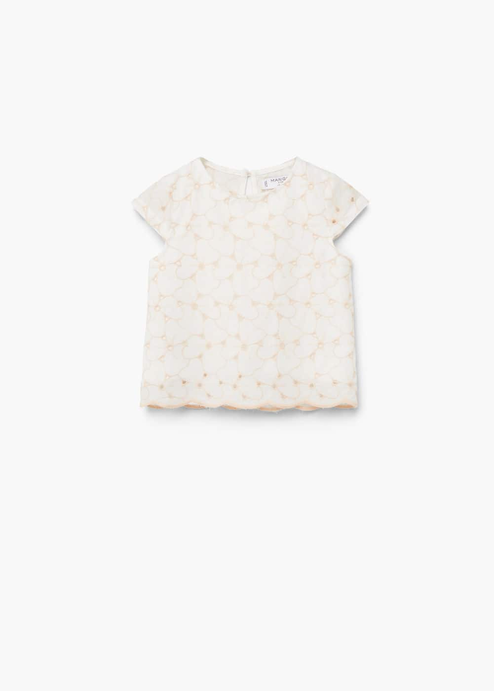 Openwork cotton blouse | MANGO KIDS