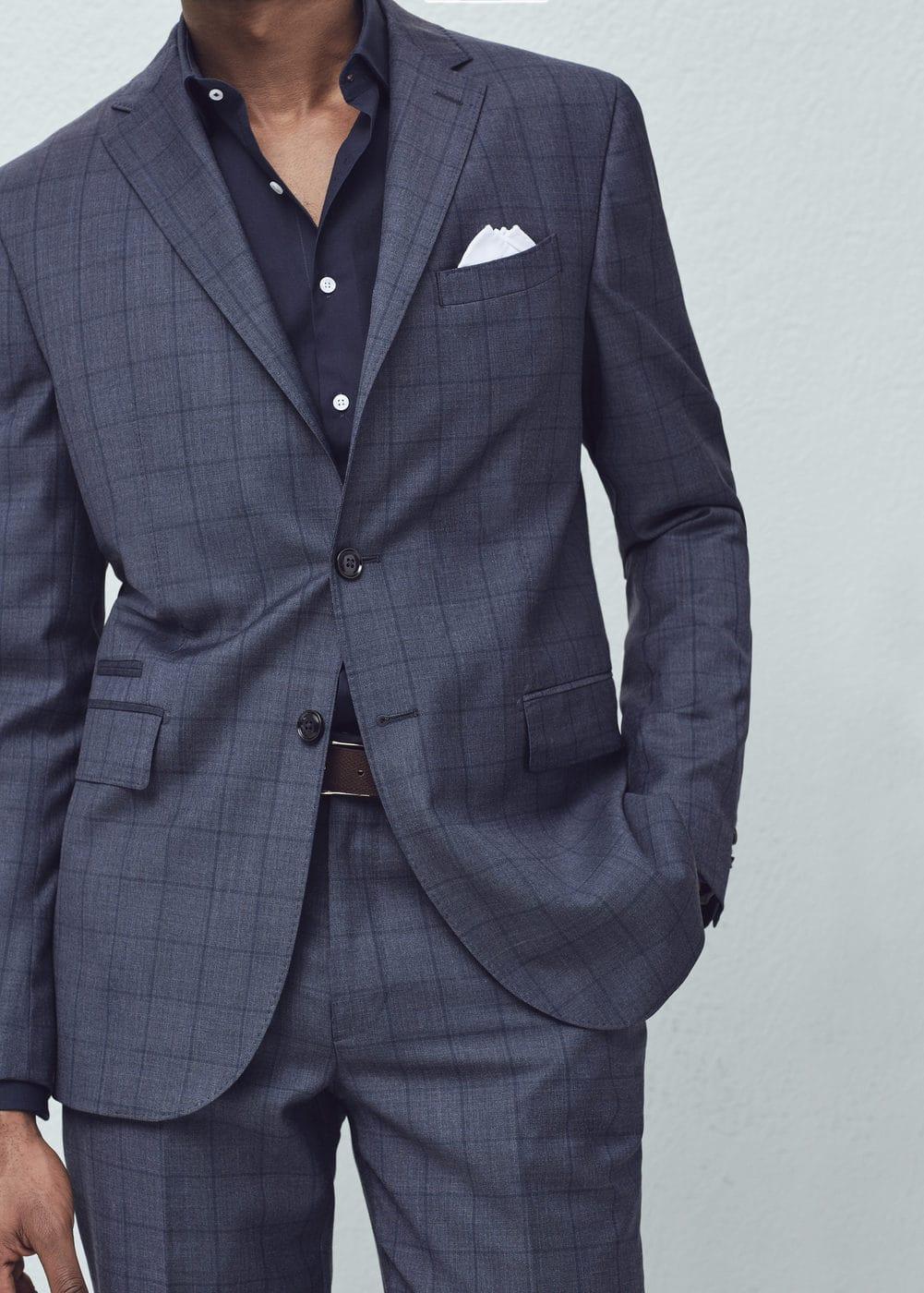Check wool suit blazer | MANGO MAN