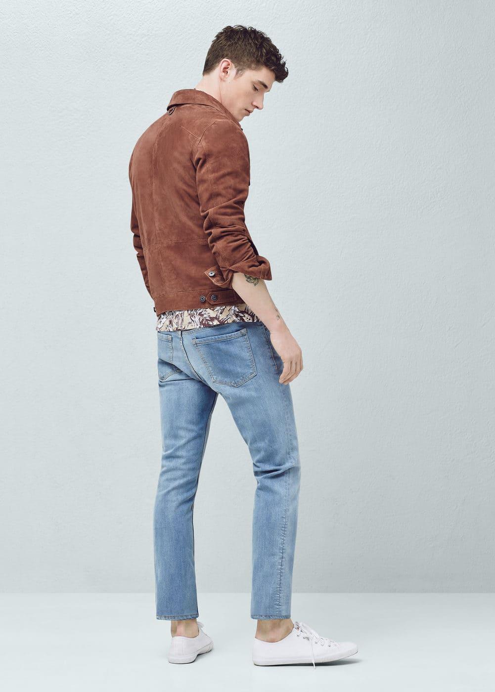 Slim-fit light wash jan jeans   MANGO MAN