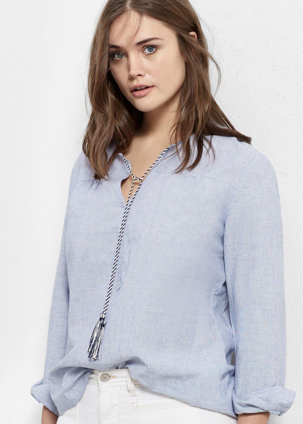 Wool cotton-blend blouse | MANGO