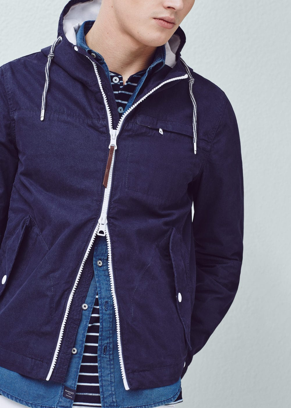 Cotton-blend hooded jacket | MANGO MAN