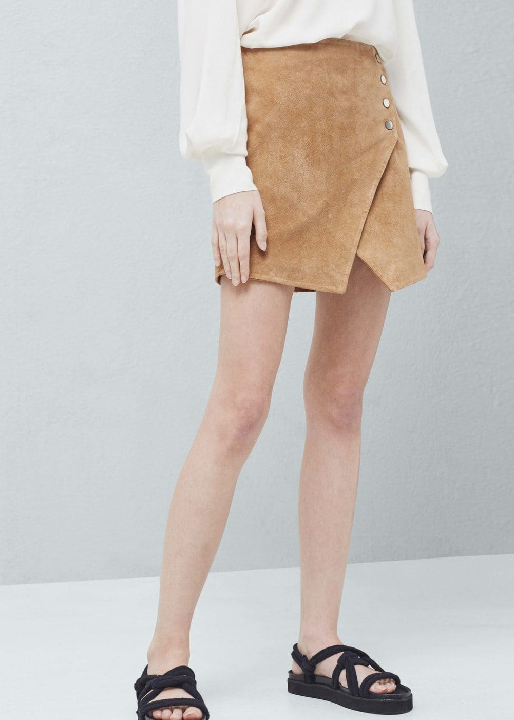 Suede wrap skirt | MANGO