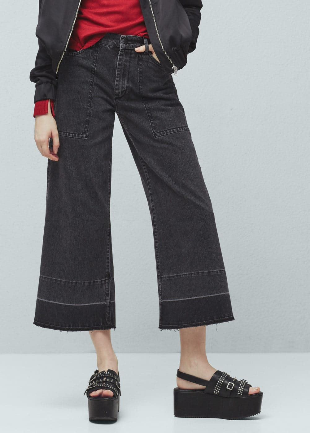 Crop flared gaucho jeans | MANGO